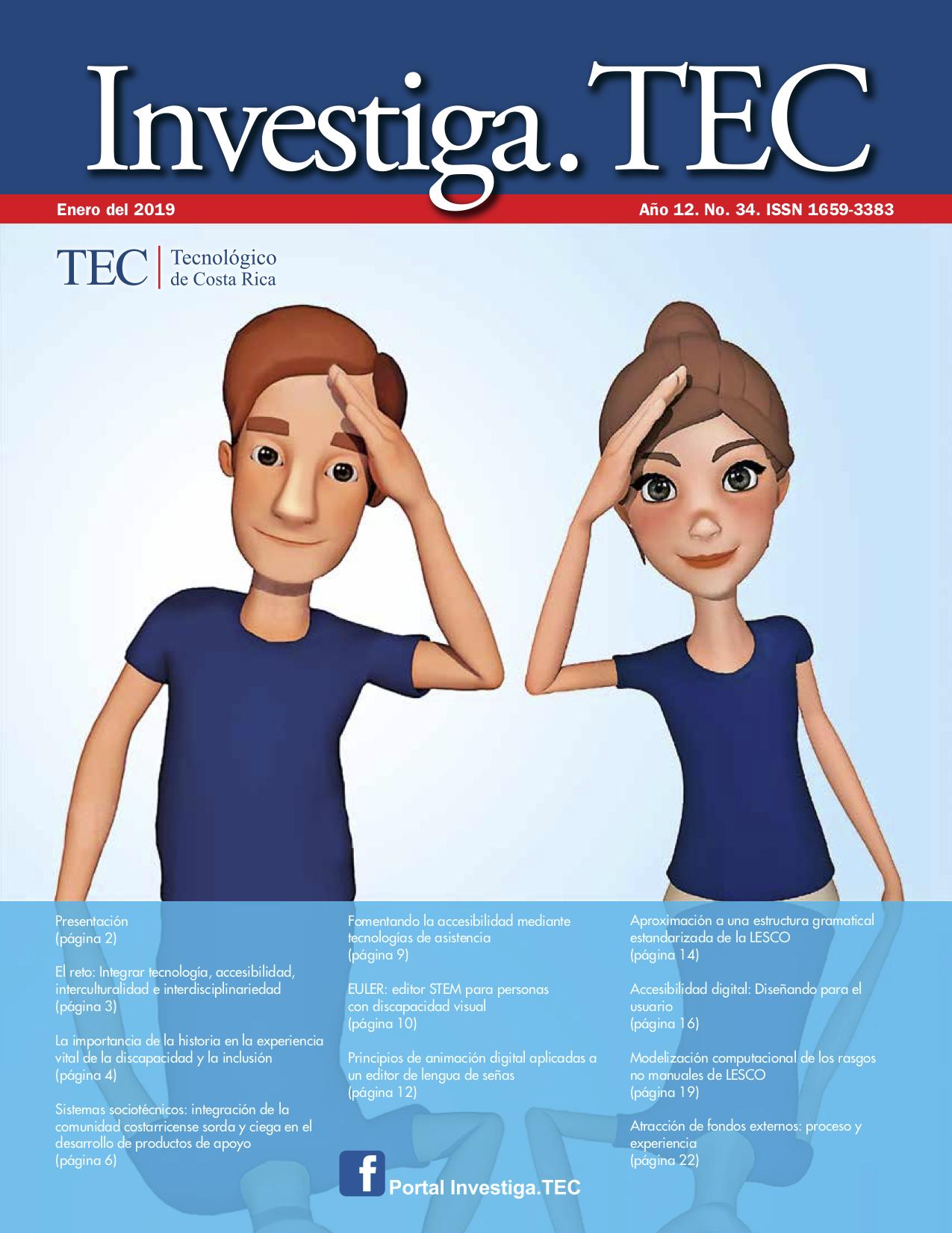 La imagen de portada presenta la figura del avatar -mujer y hombre- del proyecto tra- ductor de LESCO.